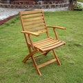 Acacia Hardwood Folding Ladder Back Armchairs (Set of 2)
