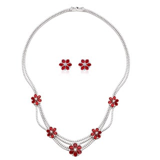 Rhodium-plated Sterling Silver Cubic Zirconia Flower Necklace and Earrings Set