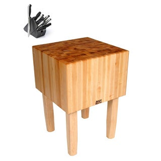 John Boos AA02 Butcher Block 24x24x34 Table with Henckels 13 Piece Knife Block Set