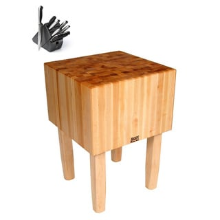 John Boos AA02 24 x 24 x 34 Butcher Block Table and Henckels 13-piece Knife Block Set