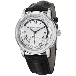 Frederique Constant Men's 'World Timer' Silver Dial Leather Strap Watch