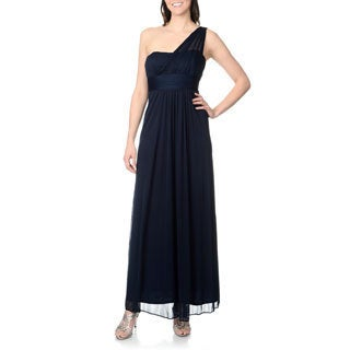 Onyx Nite Women's Navy One-shoulder Gown