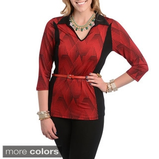 Stanzino Women's Plus Size Colorblock Belted Formal Top
