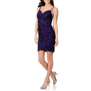 Onyx Nite Women's Purple Metallic Taffeta Dress