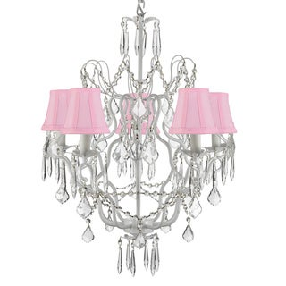 Gallery 5-light White Wrought Iron/ Crystal Chandelier