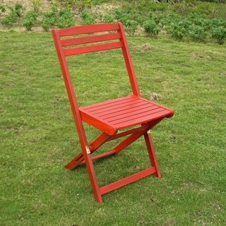 Acacia Hardwood Sky Blue, Mint Green, Bard Red Folding Chairs (Set of 2)