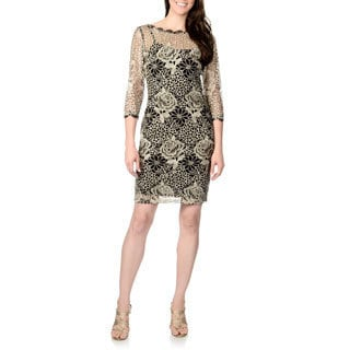 Marina Women's Black and Ivory Metallic Lace 3/4-sleeve Dress