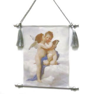 Canvas Scroll Kissing Angels Wall Hanging