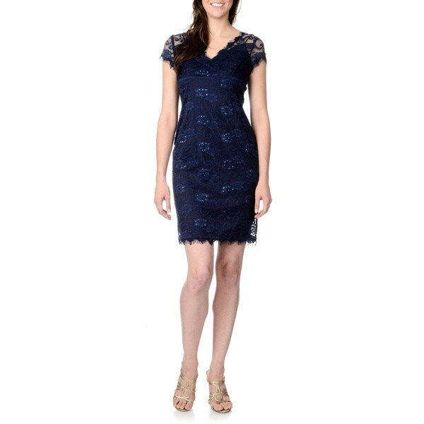 Marina Women's Allover Lace Sheath Dress