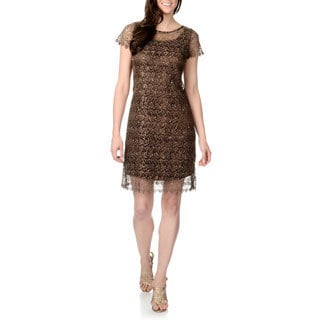 Marina Women's Bronze Lace Overlay Shift Dress