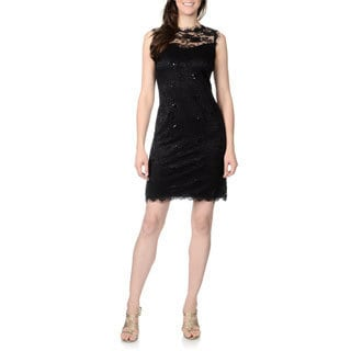 Marina Women's Black Lace Sheath Dress