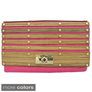 'Brooke' Wooden Paneled Clutch Bag