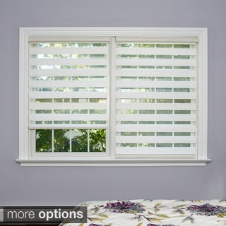 Premium Duo-roller White Wood-look Window Shade