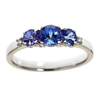 D'Yach Sterling SilverTanzanite and Diamond Accent Ring (G-H, I1-I2)
