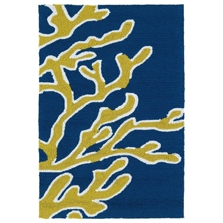Indoor/ Outdoor Luau Blue Coral Rug (2' x 3')