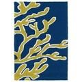 Indoor/ Outdoor Luau Blue Coral Rug (2' x 3')