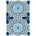 Handmade Luau Ivory Tile Indoor/ Outdoor Rug (2' x 3')