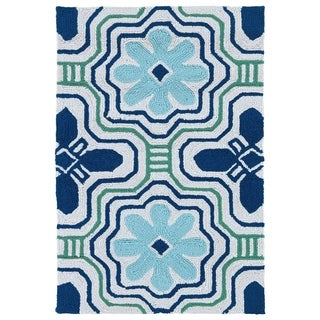 Handmade Luau Ivory Tile Indoor/ Outdoor Rug (2' x 3')