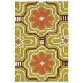 Handmade Luau Gold Tile Indoor/ Outdoor Rug (2' x 3')