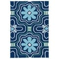 Indoor/ Outdoor Luau Blue Tile Rug (2' x 3')