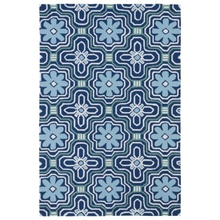 Indoor/ Outdoor Luau Blue Tile Rug (7'6 x 9')