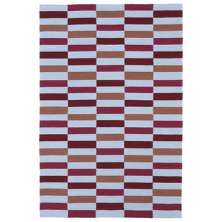 Indoor/ Outdoor Luau Multicolored Stripes Rug (8'6 x 11'6)