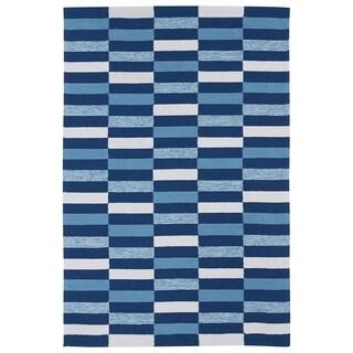 Indoor/ Outdoor Luau Blue Stripes Rug (3' x 5')