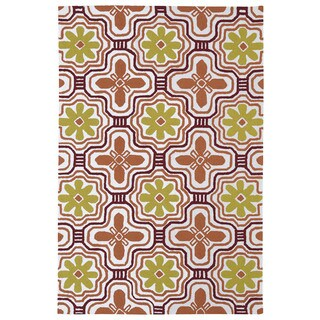 Indoor/ Outdoor Luau Orange Tile Rug (8'6 x 11'6)