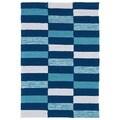 Indoor/ Outdoor Luau Blue Stripes Rug (2' x 3')