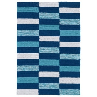 Indoor/ Outdoor Luau Blue Stripes Rug (2' x 3')