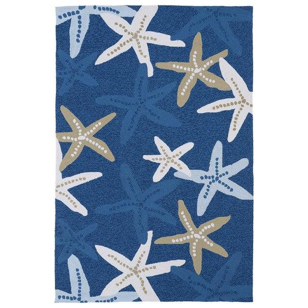 Luau Blue Starfish Indoor Outdoor Rug 3 X 5