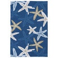 'Luau' Blue Starfish Print Indoor/Outdoor Rug (7'6 x 9')