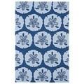 'Luau' Blue Sand Dollar Print Indoor/ Outdoor Rug (3' x 5')