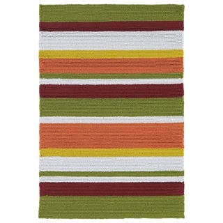 Indoor/ Outdoor Luau Multicolored Stripes Rug (2' x 3')