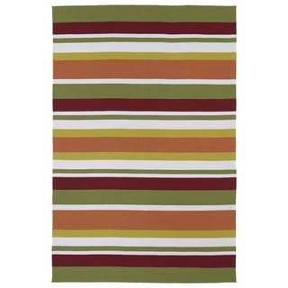 Indoor/ Outdoor Luau Multicolored Stripes Rug (7'6 x 9')