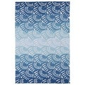 Indoor/ Outdoor Luau Blue Seashell Rug (7'6 x 9')