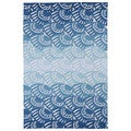 Indoor/ Outdoor Luau Blue Seashell Rug (3' x 5')