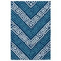 Indoor/ Outdoor Luau Blue Chevron Rug (2' x 3')