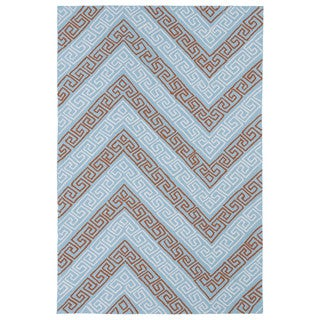 Indoor/ Outdoor Luau Light Blue Chevron Rug (7'6 x 9')
