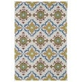 Indoor/ Outdoor Fiesta Tiles Ivory Rug (3' x 5')