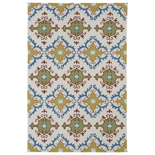 Indoor/ Outdoor Fiesta Tiles Ivory Rug (7'6 x 9')