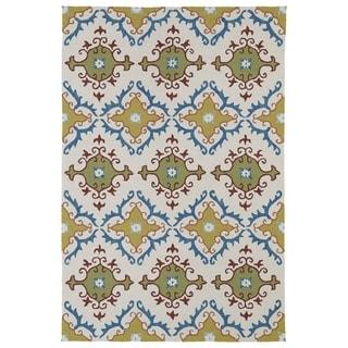 Indoor/ Outdoor Fiesta Tiles Ivory Rug (5' x 7'6)