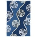 Indoor/ Outdoor Fiesta Waves Blue Rug (3' x 5')