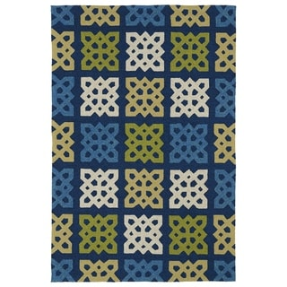 Indoor/ Outdoor Fiesta Panel Blue Rug (7'6 x 9')