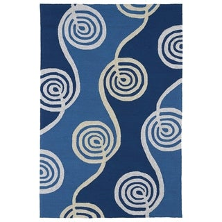 Indoor/ Outdoor Fiesta Waves Blue Rug (7'6 x 9')