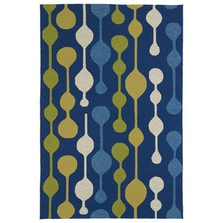 Indoor/ Outdoor Fiesta Lights Blue Rug (7'6 x 9')