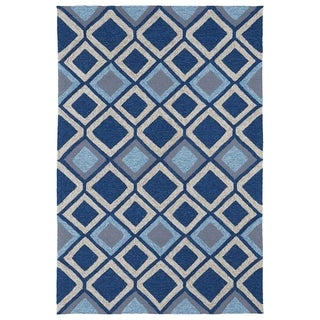 Indoor/ Outdoor Fiesta Moroccan Blue Rug (7'6 x 9')