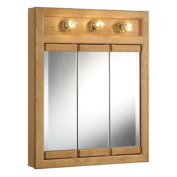 richland 39 nutmeg oak lighted 3 door bathroom wall cabinet and mirror