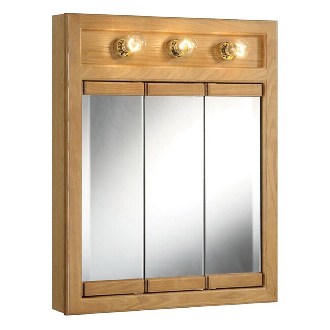 Design House Richland Nutmeg Oak-lighted 3-door Tri-view Mirror Wall Cabinet at Sears.com