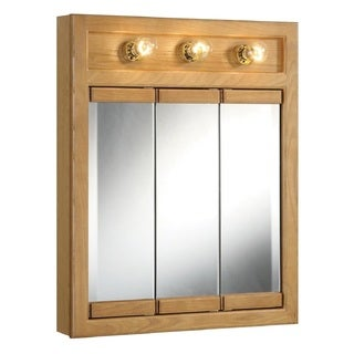 Design House Richland Nutmeg Oak-lighted 3-door Tri-view Mirror Wall Cabinet